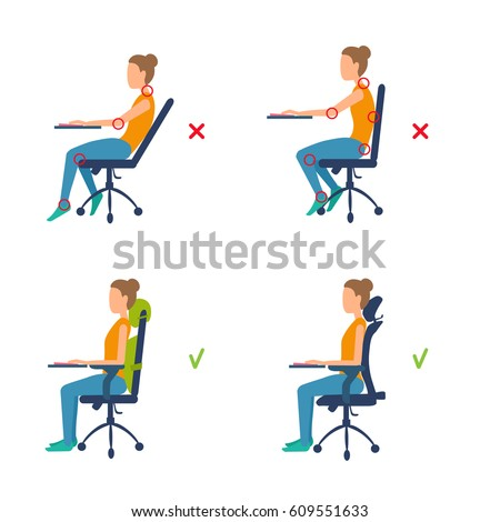Correct Incorrect Position Sitting Table Ergonomic Stock