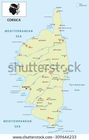 Road Map French Mediterranean Island Corsica Stock Vector