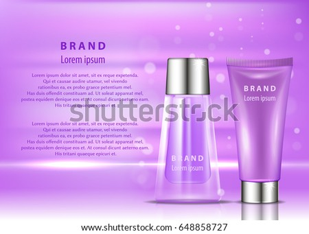 Vector Bottle Cosmetic Mockup On Pink Stock Vector
