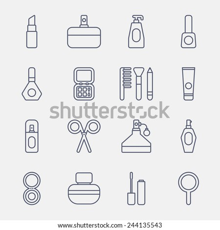 cosmetics line icons on white background
