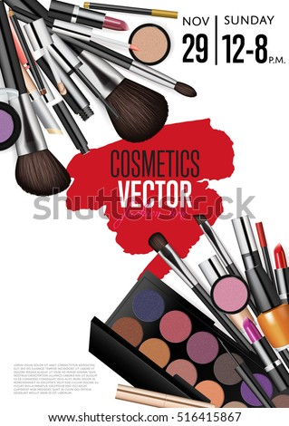 Cosmetics product presentation poster. Makeup accessories set. Cosmetics promotion flyer with date and time. Brushes, powder palettes, lipstick, eye pencil, nail polish vectors. For beauty salon, shop