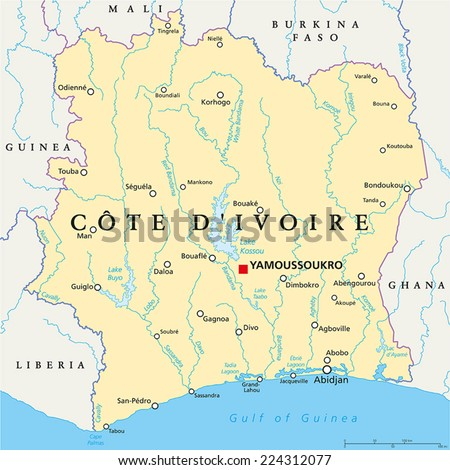 Cote D Ivoire Political Map With Capital Yamoussoukro National Borders Important Cities