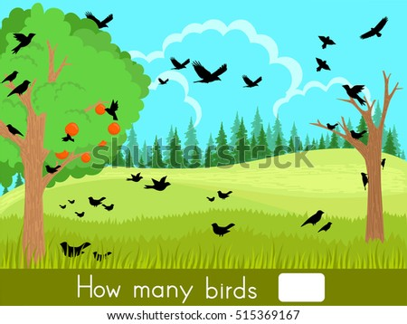 Counting game. How many birds - Worksheet for education