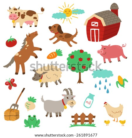 Country farm theme with cute and simple cartoon style of horse, dog, sheep, pig, cow, goat, chicken, and several dairy products and farm objects in vector eps10.