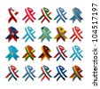 Country flag award ribbons set against white background. - stock photo