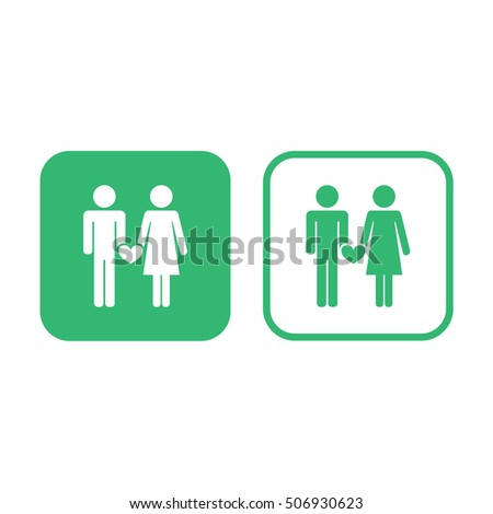 Couple icon vector illustration. Green and white