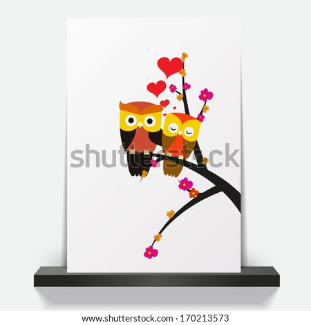 Couple owls in love.Vector wedding card