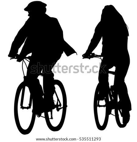couple riding bicycles silhouettes - vector