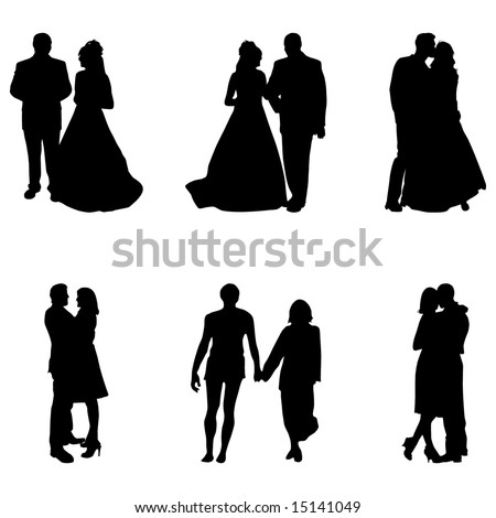 couples silhouettes - collection of vector illustrations