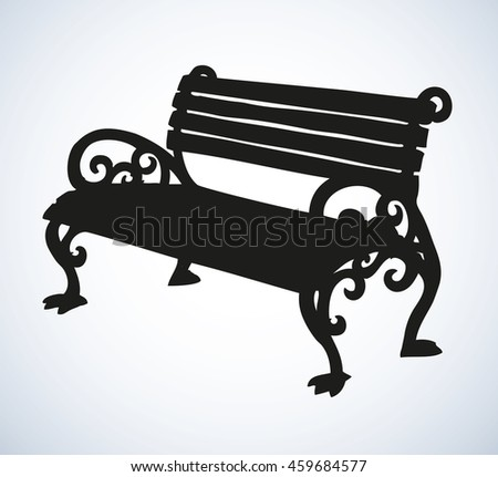 Cozy aged worn slat sofa with iron legs on sidewalk isolated on white backdrop. Dark ink hand drawn picture sketchy in art style. View closeup with space for text