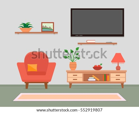 cozy living room interior with armchair, tv and furniture. classic or modern style living room interior.