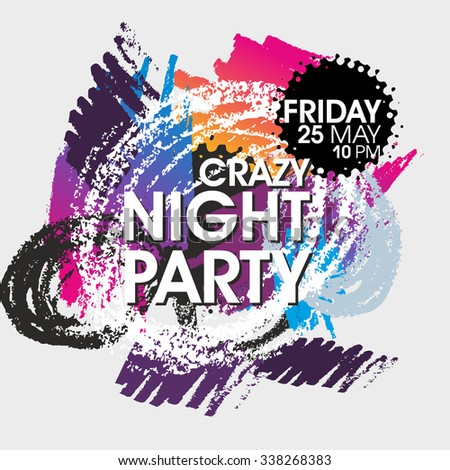 Crazy Night Party Vector Flyer Template - EPS10 Design.
