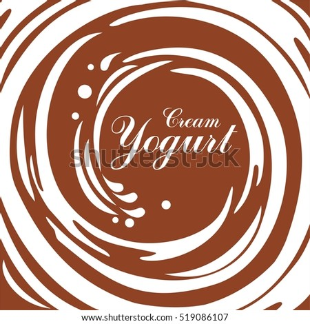 Cream Yogurt. Chocolate swirl background. Vector Illustration