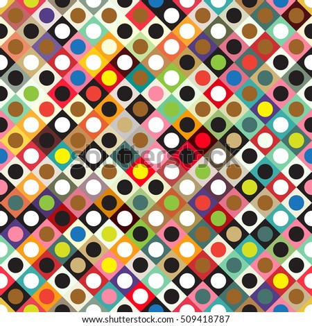 Creative abstract background - geometric seamless pattern. Colorful circles and squares.