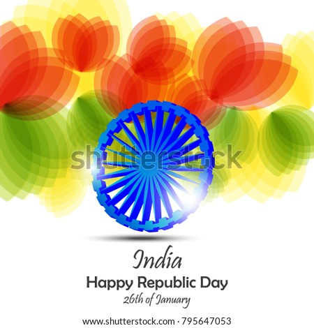Creative Abstract Design With Flower National Flag Colors And Ashoka Wheel For Republic Day Independence