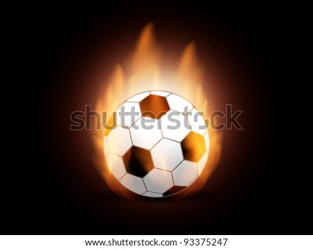Creative background with burning soccer ball. Vector illustration