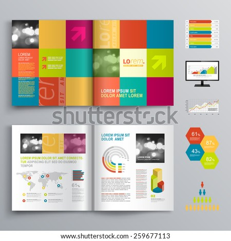Professional business three fold flyer template stock for Creative brochure design templates