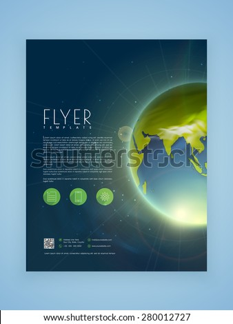 Creative business flyer, template or brochure design with shiny earth.