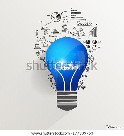 Creative design template, Light bulb with drawing chart and graphs business idea, vector illustration