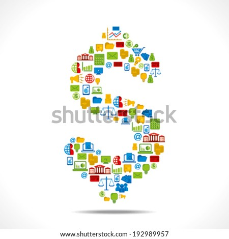 creative dollar design with colorful business icon design concept vector