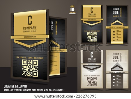 Creative & elegant standard vertical business card design with sharp corners