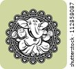 Creative illustration of Hindu Lord Ganesha - stock photo