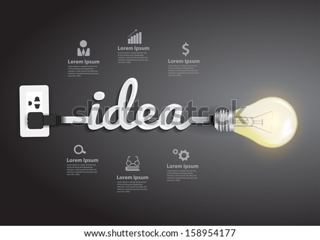 Creative Light Bulb Idea Abstract Infographic, Inspiration Concept Modern  Design Template Workflow Layout, Diagram