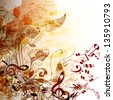 Creative music background with notes for design - stock vector
