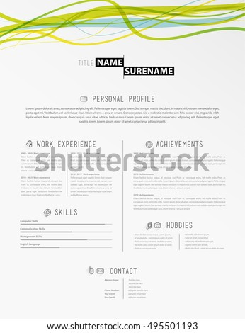 Vector Minimalist Cv Resume Template Timeline Stock Vector ...