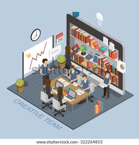 Flat 3d isometric creative mobile education stock vector for 3d flat design online