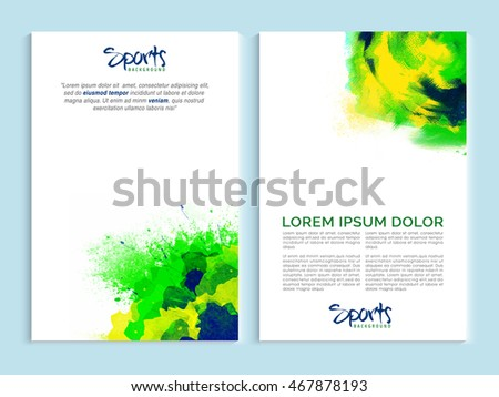 Set vector banners green watercolor splash stock vector for Two page brochure template