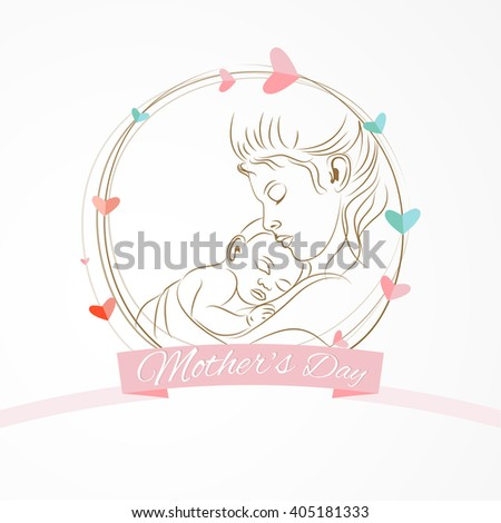 creative vector abstract for Mother's Day with nice Mother's holding his baby illustration in a badge like element in background.