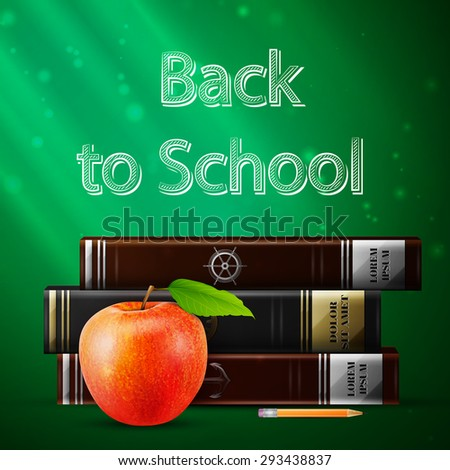 Creativity Back to school concept with apple and books - sketch on the blackboard, vector image.