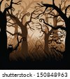 Creepy forest of gnarled trees. EPS 10 vector, grouped for easy editing. No open shapes or paths. - stock photo