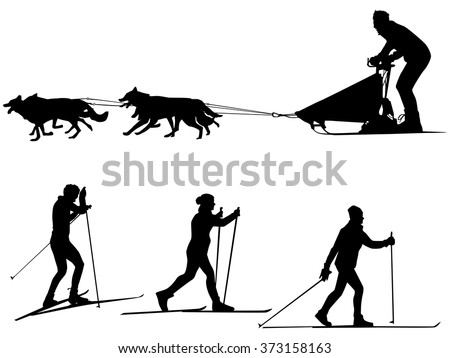 Cross country skiing and dog sledding Sport silhouettes