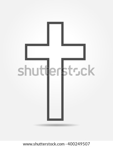 Cross icon - flat vector image. Simple black Christian Cross - vector illustration.