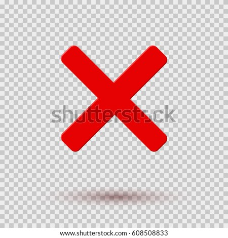 cross red icon isolated on transparent stock vector