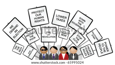 Crowd protesting with placards against the government isolated on white background