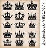 crown collection set heraldry - stock vector