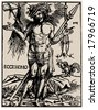 crucifixion. antiques religion book illustration, vector - stock photo