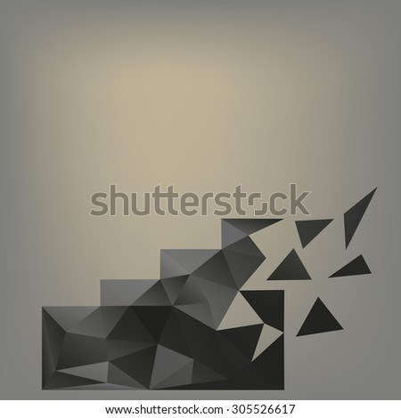 Crumbling staircase. Vector illustration Back stairs of the polygonal elements of crumbling to pieces