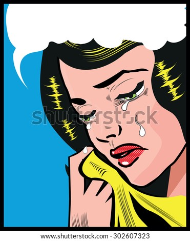 Cry Sad woman pop art illustration pin up style background Pop Art girl.Vintage advertising poster. Comic woman with speech