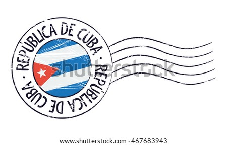 Cuba grunge postal stamp and flag on white background