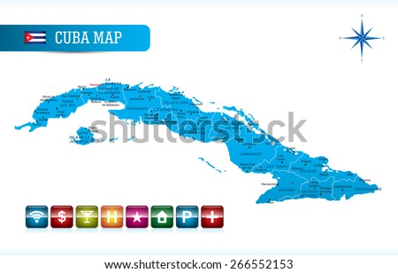 Cuba Map with Navigation Icons
