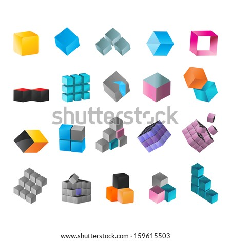 Cube Icons Set - Isolated On White Background - Vector Illustration, Graphic Design Editable For Your Design