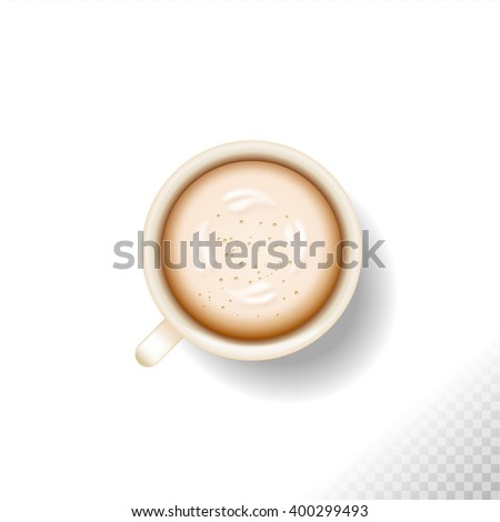 cup  isolated on white or transparent  background . coffee latte cappuccino with foam