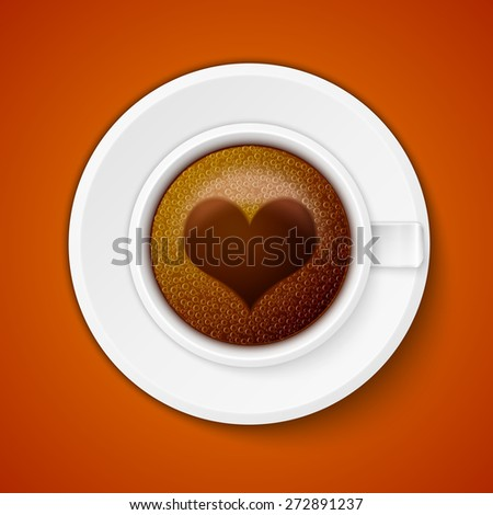 Cup of coffee with heart, excellent vector illustration, EPS 10