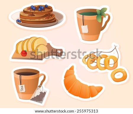 cup of tea, pastries, sweets, set, sticker