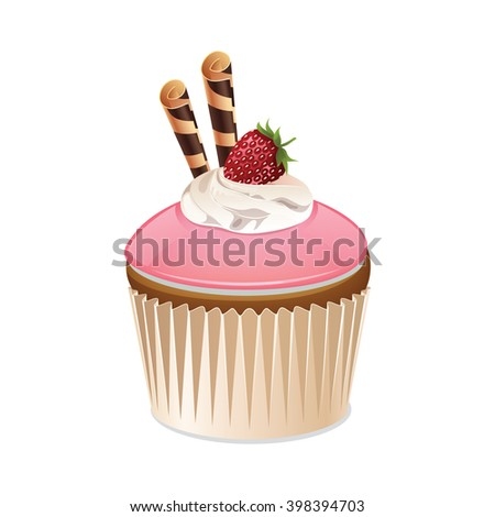Cupcake icon isolated on a white background. Icon cake with strawberry glaze. Cupcake with cream, strawberries and cookies. Vector illustration.