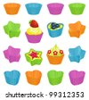 Cupcakes and colorful baking cups - stock photo